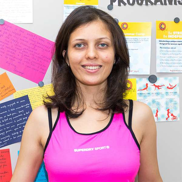 """pregnant women & new mums trainer for Dr. Heus' RevInMo in India Raina Gagrat: """"Fitness is the ability of the body to live up to what the heart and mind desire - for some, it could be as simple as walking or performing their daily chores without difficulty; for others, it could mean running a marathon or climbing a mountain. Whatever it is that you wish to achieve, I am only too glad to be able to help. As a fitness specialist, I enjoy combining a variety of training techniques to help clients attain their desired fitness objectives. What is unique about my programs?circlesBulletImageEach of my programs is tailored to meet your personal needs - customized exercise routines designed to achieve personal goals, and a constant monitoring of your progress circlesBulletImageI specialise in Out of Balance training on unique surfaces to activate the nervous system and thereby improve posture, body alignment and energy flow circlesBulletImageMy workouts make your body more intelligent… We don't only train hard, we train smart! Having worked in the field of health and fitness for over ten years, I've had the privilege to train some wonderful people – athletes, dancers, businessmen, expectant mothers, people with neurological disorders and bone joint problems... And each one has walked out feeling fitter and stronger."""""""
